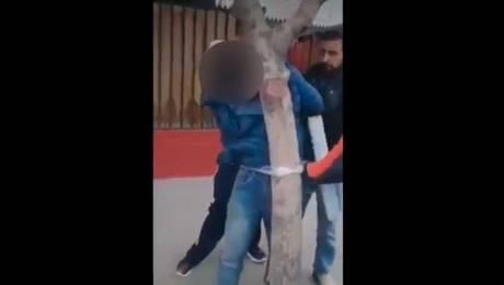 Detención ciudadana: Vecinos amarraron con plástico a ladrón en San Bernardo