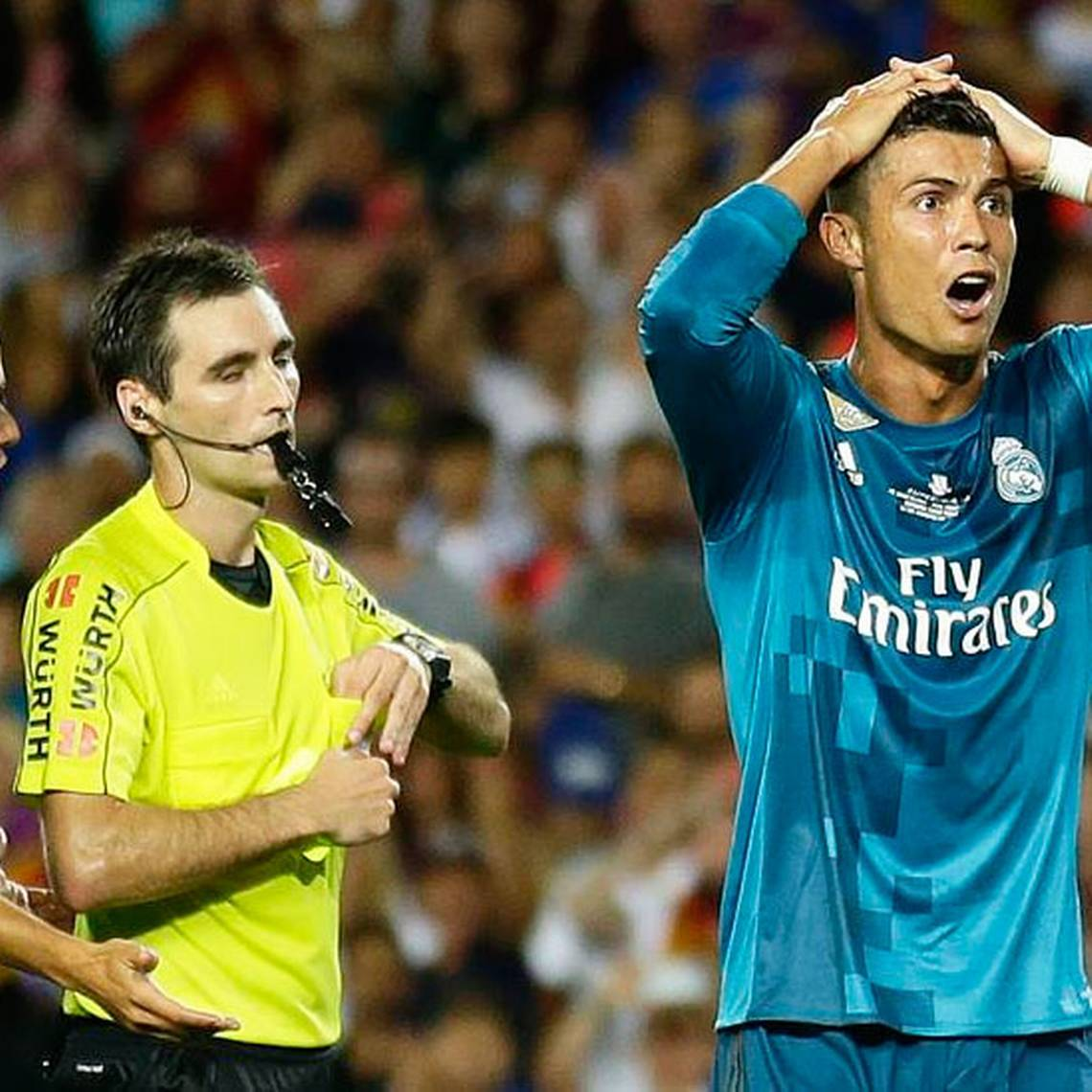Cinco fechas estará fuera Cristiano Ronaldo por empujar a un árbitro